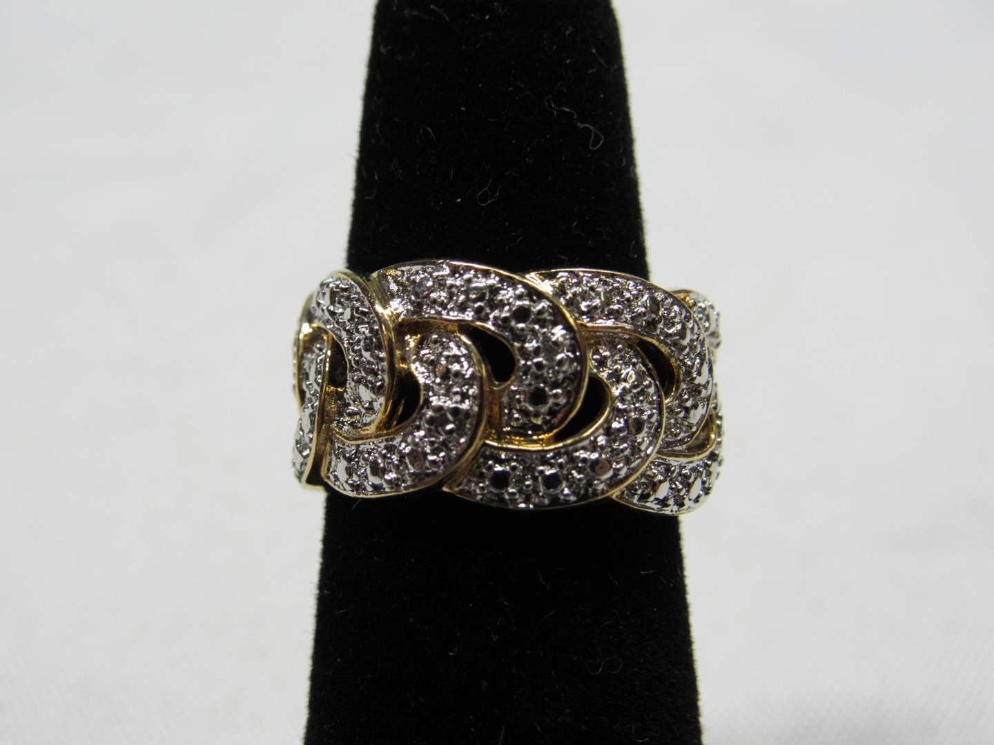 Lot # 220  Gold over sterling silver interlocking design ring size 5 (main image)