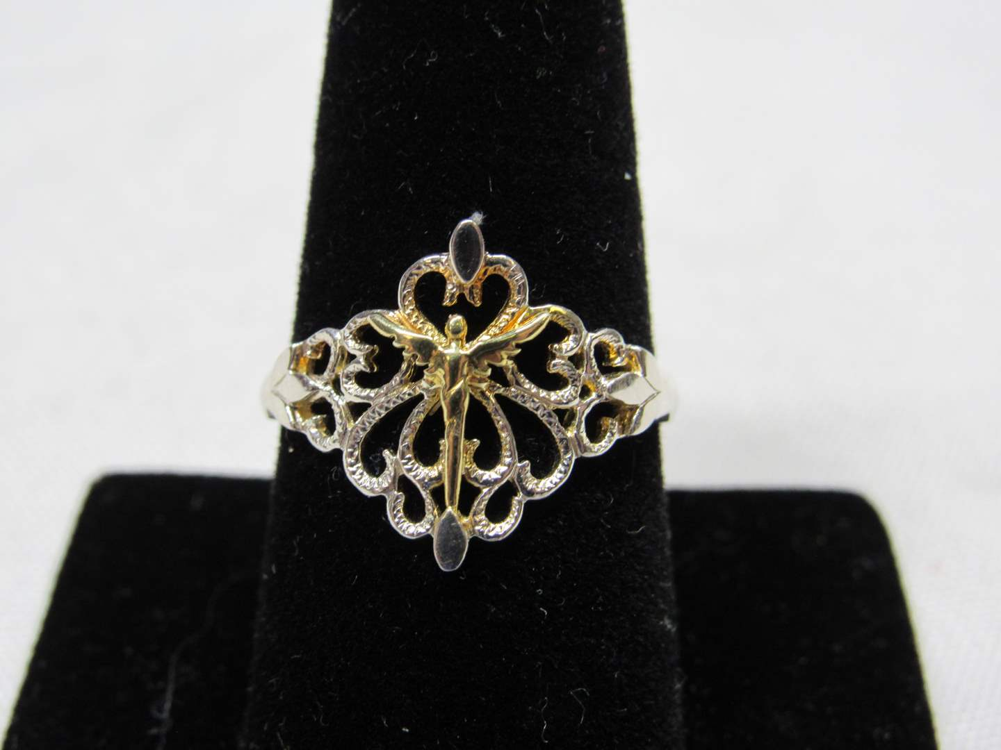 Lot # 221  Reticulated sterling silver w/gold accents size size 9 ring (main image)