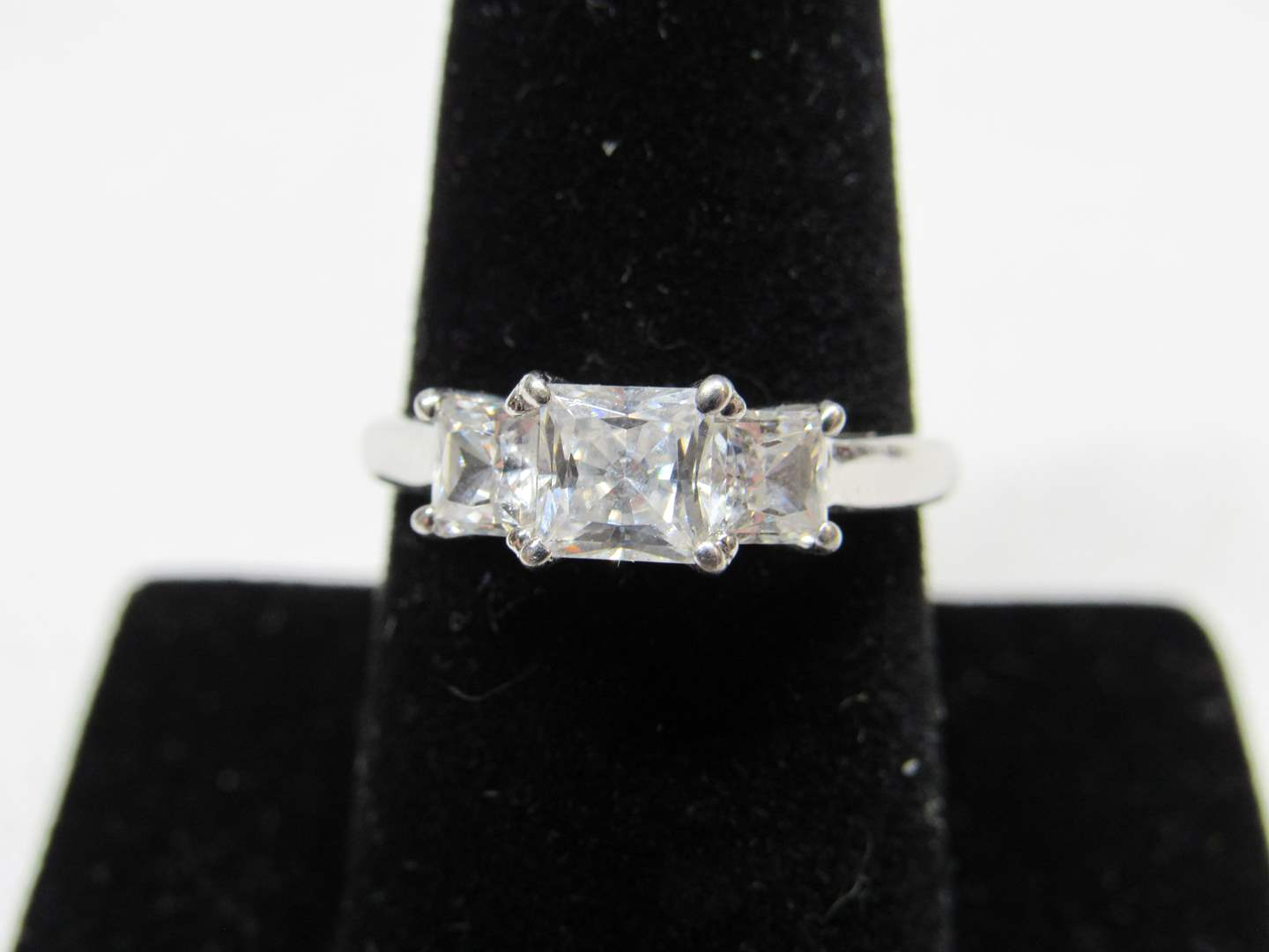 Lot # 224  Large CZ center stone sterling silver ring size 8 (main image)