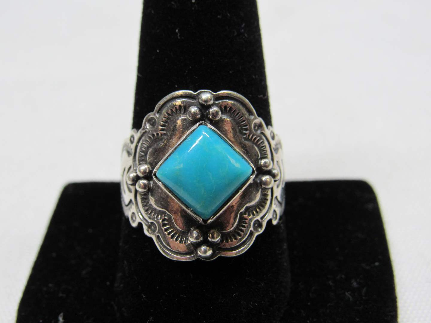 Lot # 225  Sterling silver & blue stone (Native American style) ring size 10 (main image)