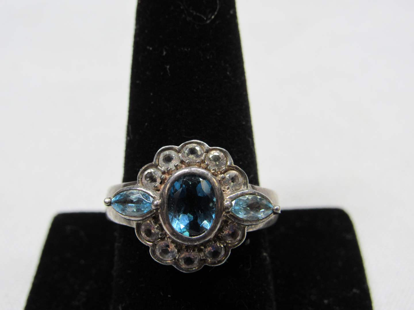 Lot # 226  Sterling silver & blue stones ring size 10 (main image)