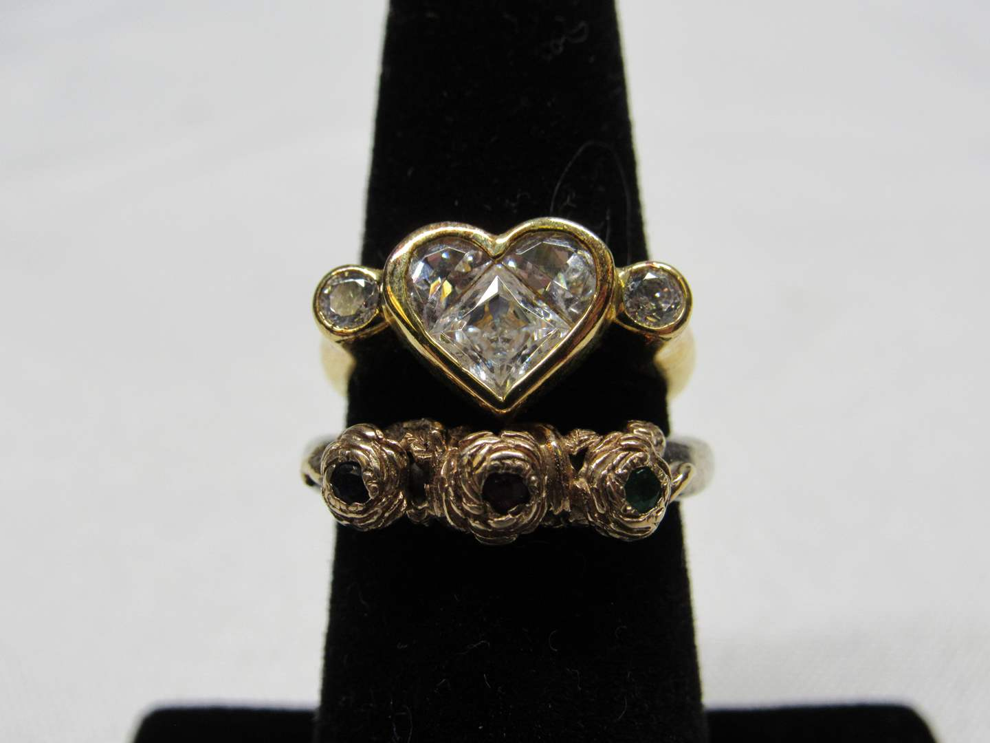 Lot # 229  2 sterling silver rings (one overlay) the other has 14K gold accents both size 6 (main image)