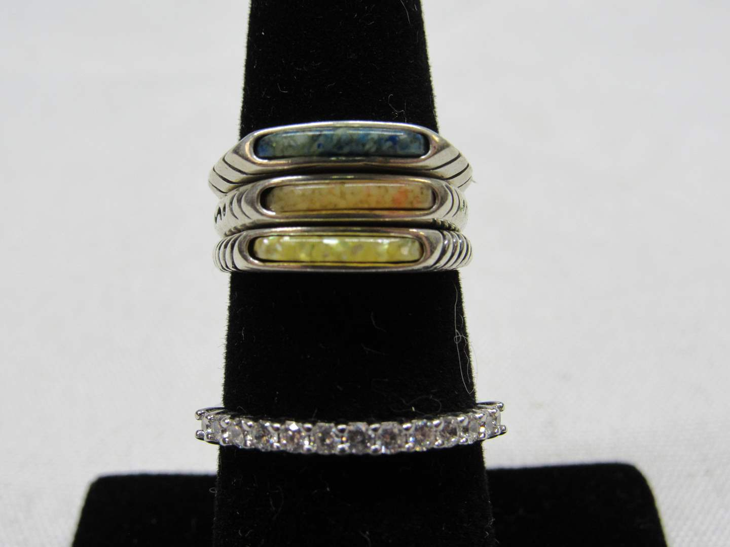 Lot # 230  4 carious colors sterling silver size 5&6 (main image)