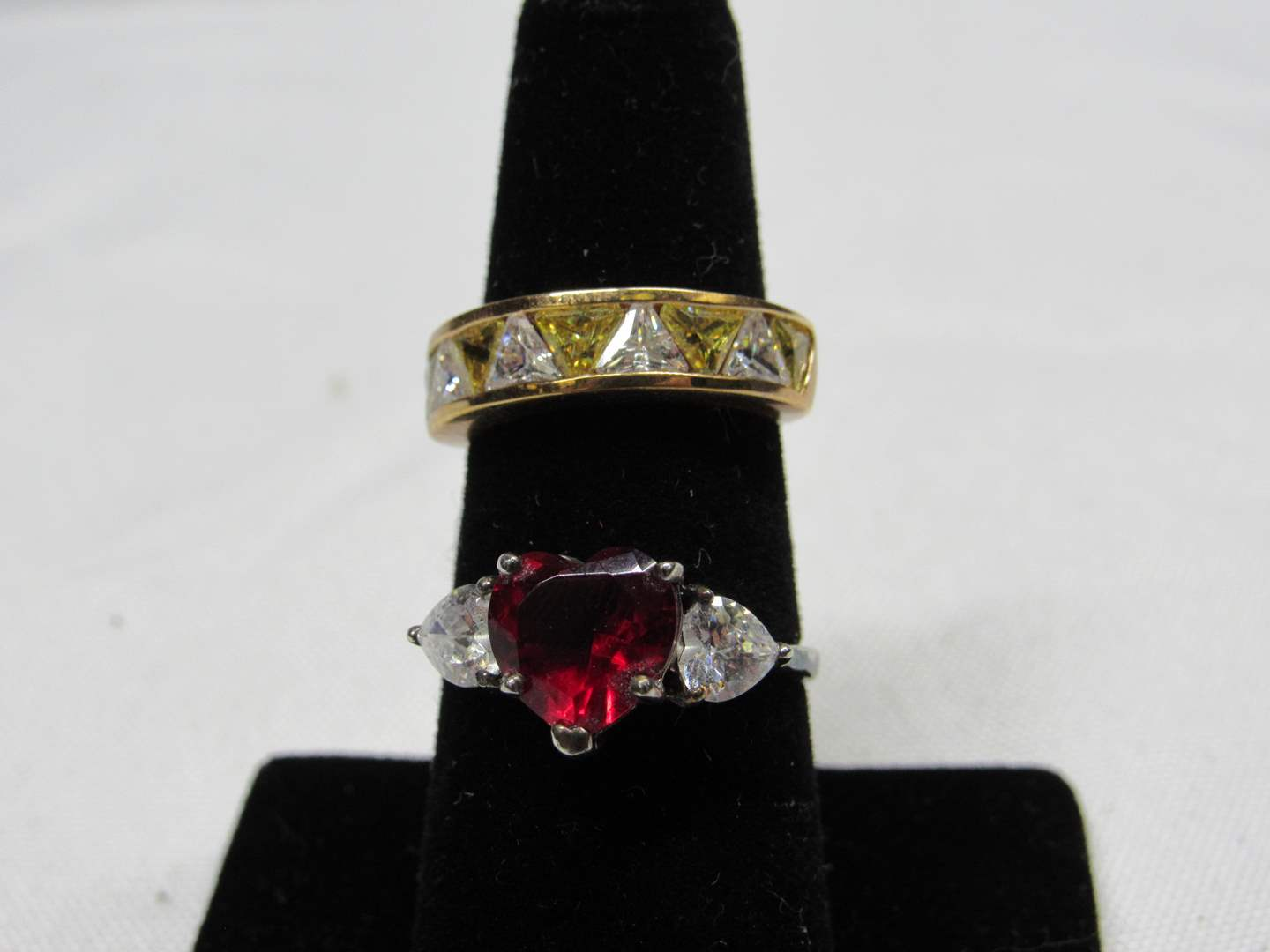 Lot # 235 2 sterling silver rings (one gold overlay) size 5 & 8 (main image)