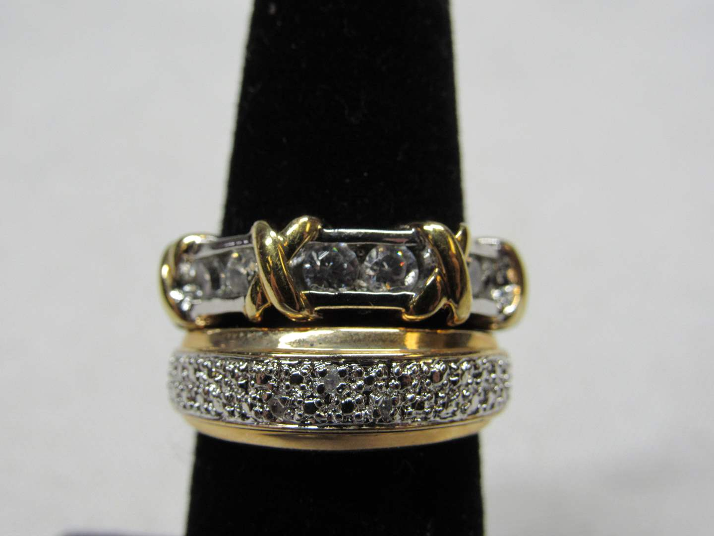 Lot # 237 2 gold overlay sterling silver rings w/cz's size 5&6 (main image)