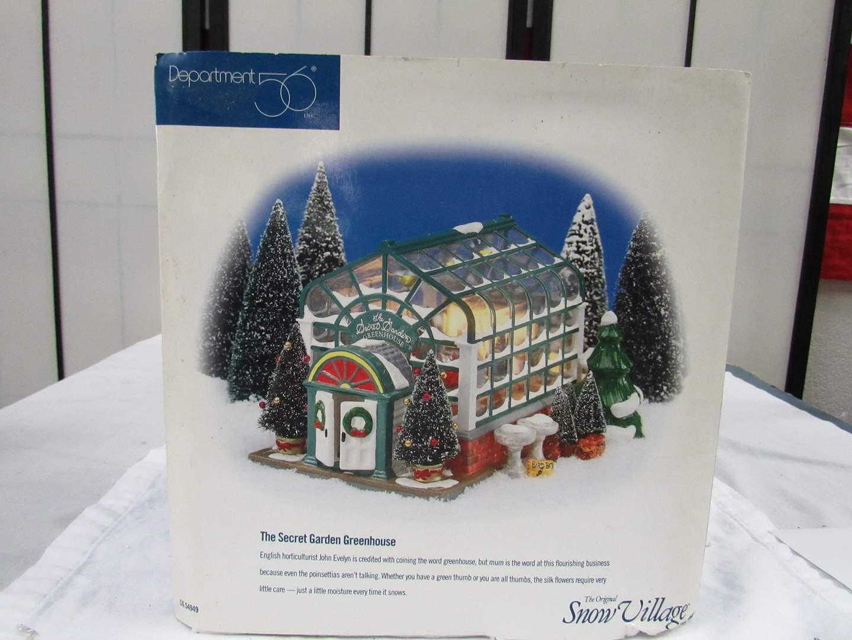 "Lot # 3 Dept 56 Snow Village  ""The Secret Garden Greenhouse"" (appears complete) (main image)"