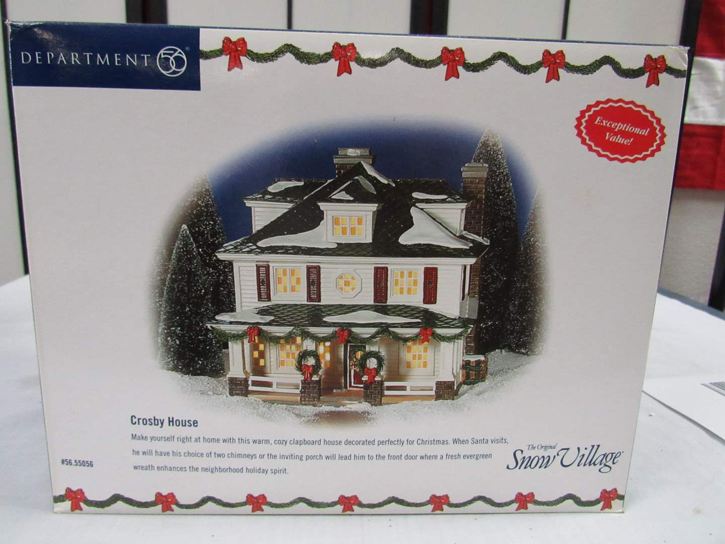"""Lot # 4  Dept 56 Snow Village  """"The Crosby House""""  Excellent complete condition (main image)"""