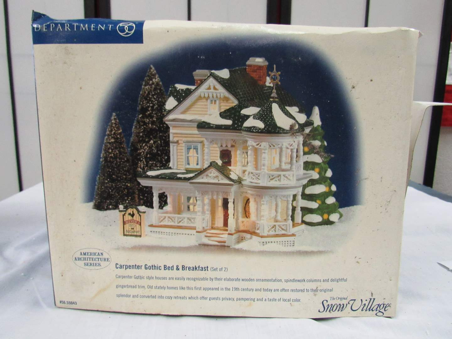 """Lot # 5  Dept 56 Snow Village  """"Carpenter Gothic Bed & Breakfast"""" NO lights (box has issues) house excellent condition (main image)"""