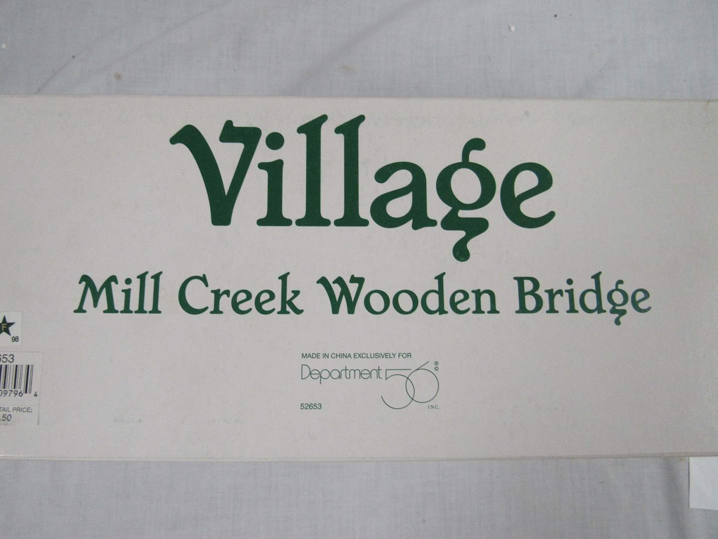 "Lot # 10  Dept 56 Snow Village  ""Mill Creek Wooden Bridge""  Perfect condition (main image)"