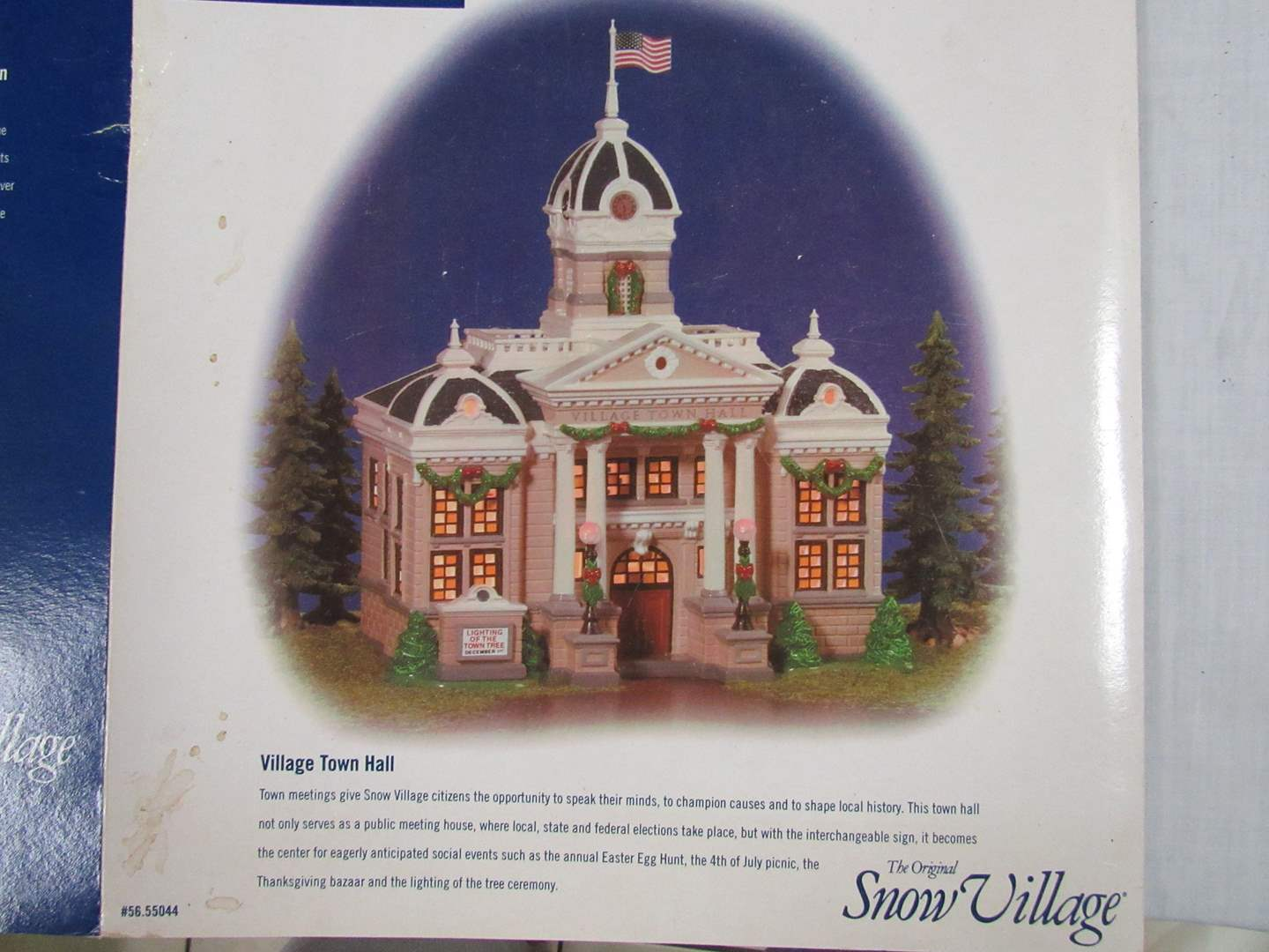 """Lot # 12  Dept 56 Snow Village  """"Village Town Hall"""" Perfect condition & complete (main image)"""