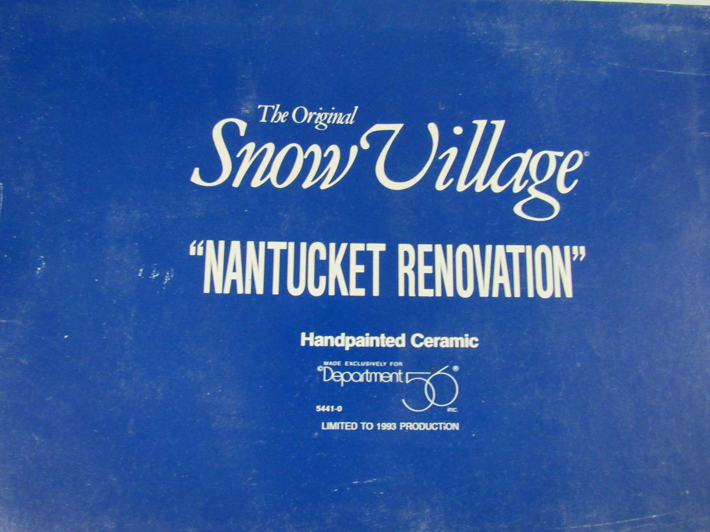 "Lot # 23  Dept 56 Snow Village  ""Nantucket Renovation"" Perfect condition & comlpete (main image)"