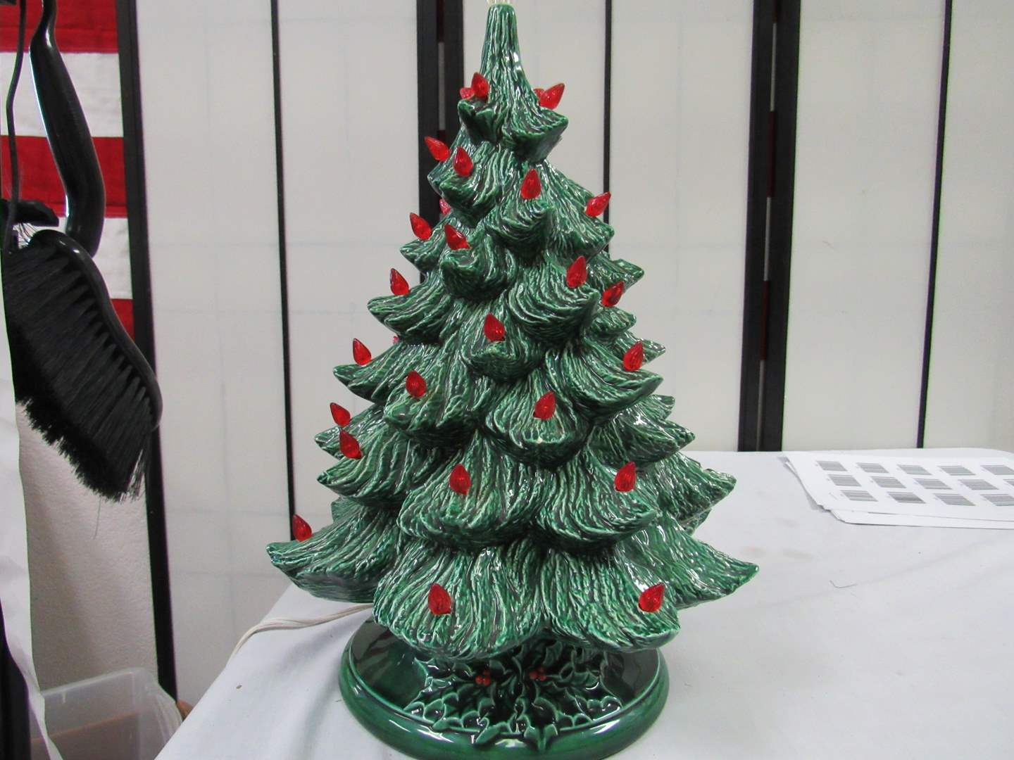Lot # 25  OLD SCHOOL ceramic Christmas tree (couple small chips & missing bulbs) (main image)