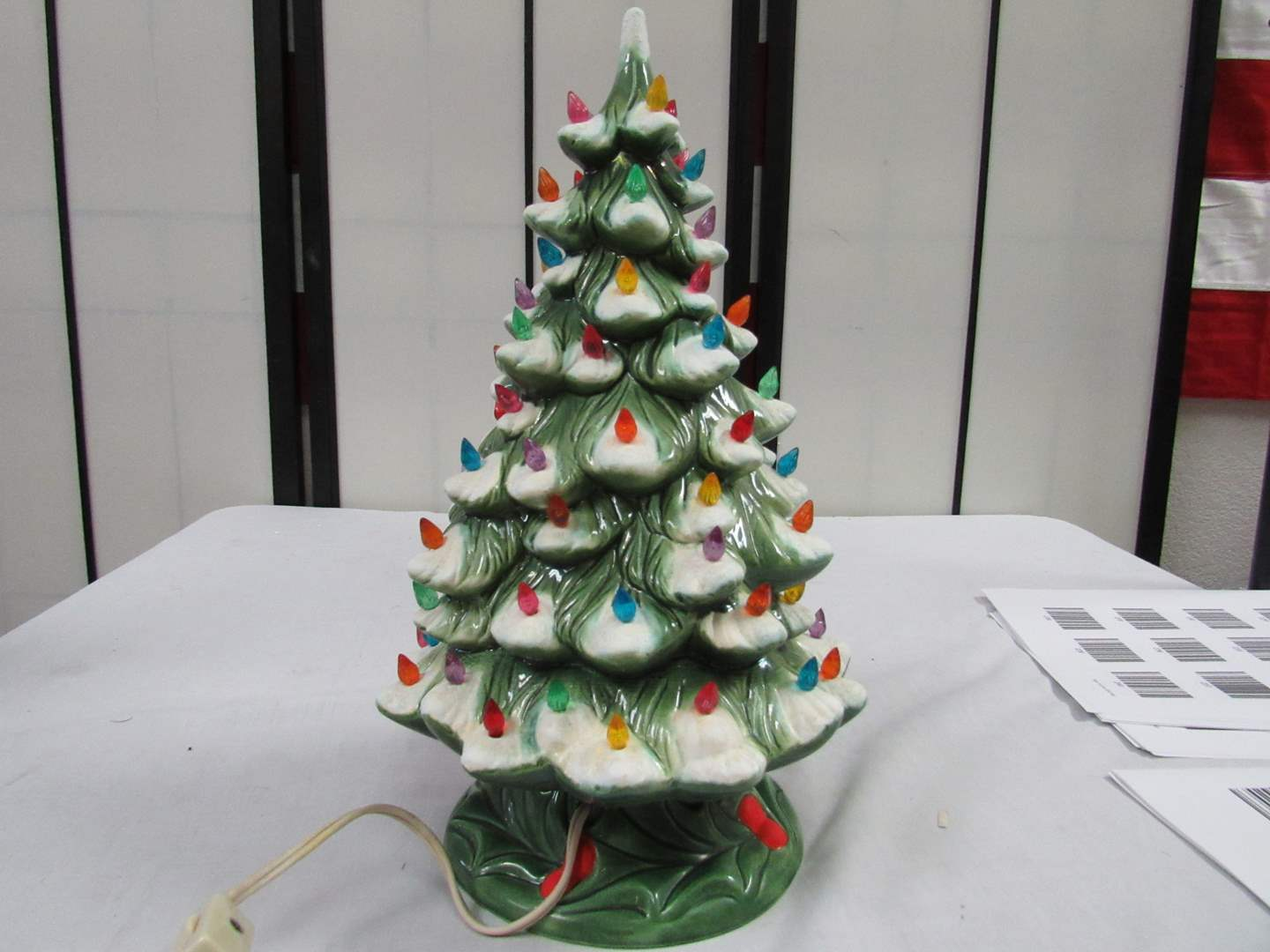 "Lot # 26  Vintage ceramic Christmas Tree 10"" great condition (main image)"