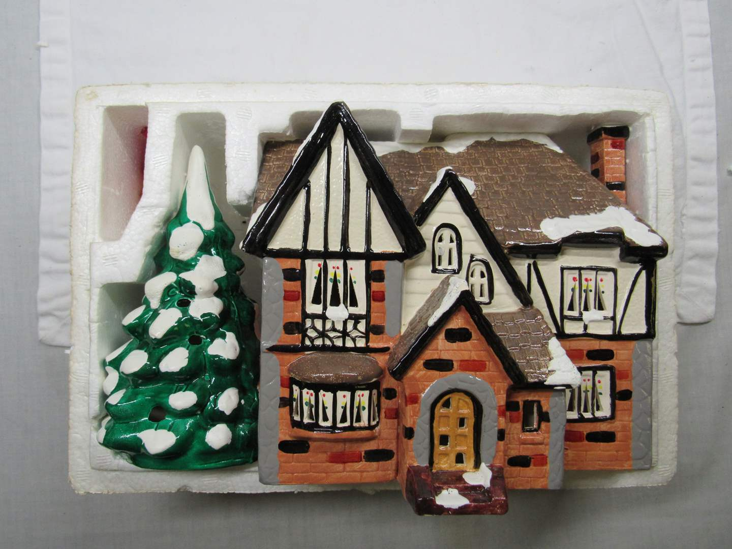 Lot # 37  Dept 56 house with light up tree (missing light) (main image)