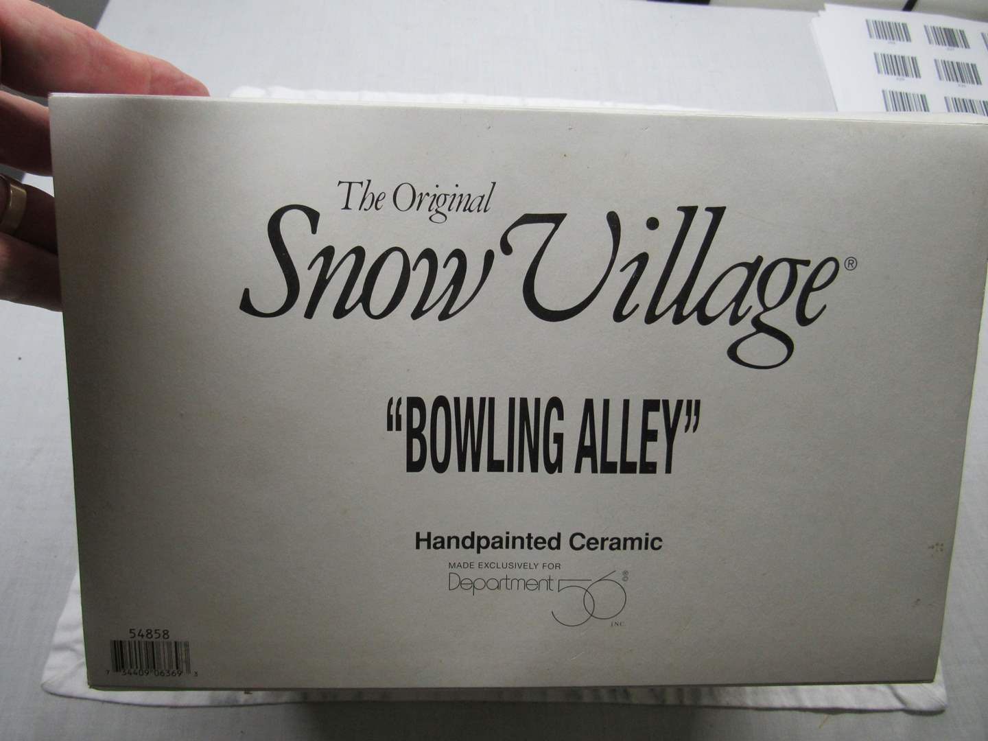 "Lot # 38  Dept 56 Snow Village ""Bowling Alley"" complete (main image)"