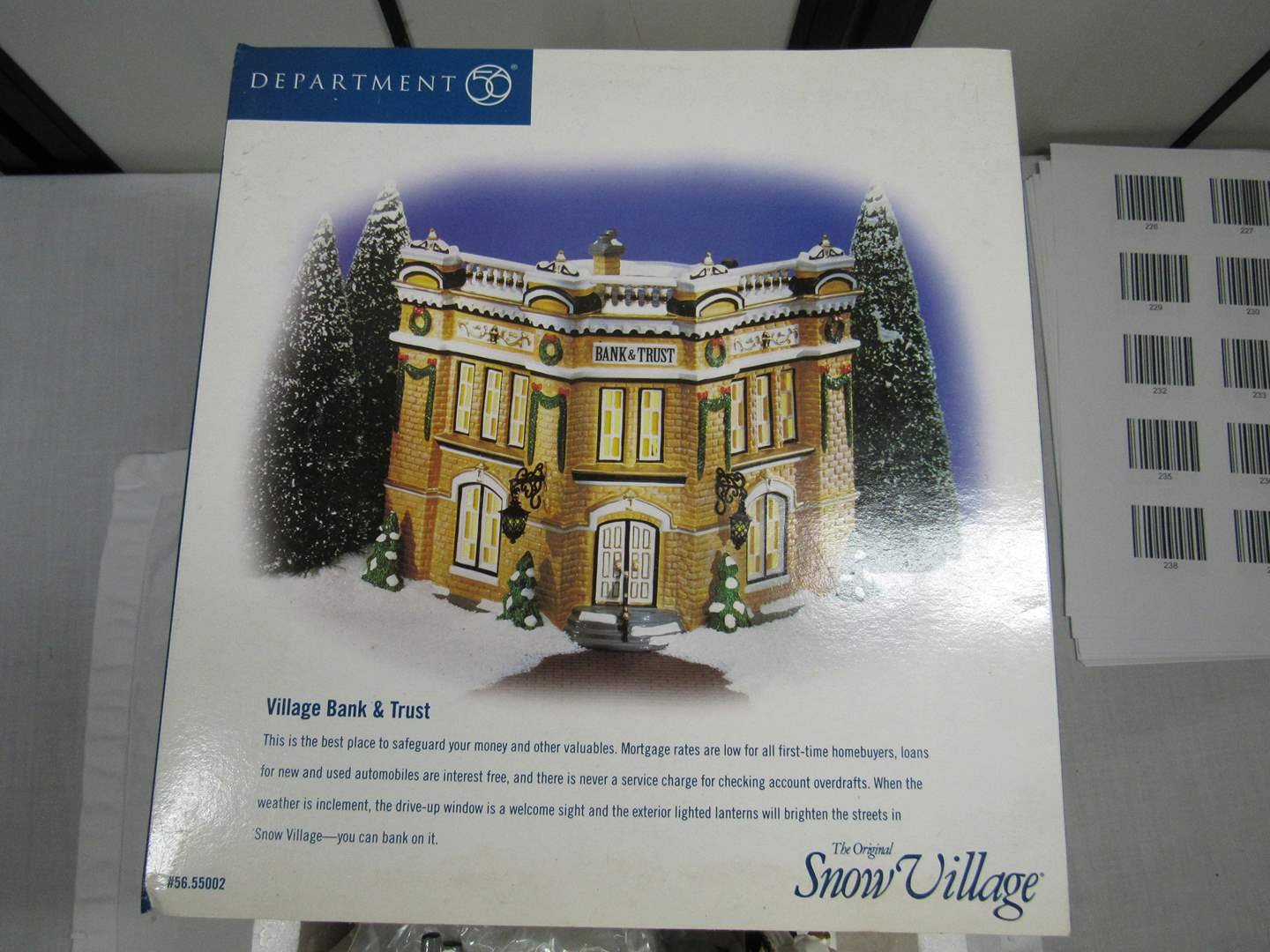 "Lot # 39  Dept 56 Snow Village ""Village Bank & Trust"" Complete perfect condition (main image)"