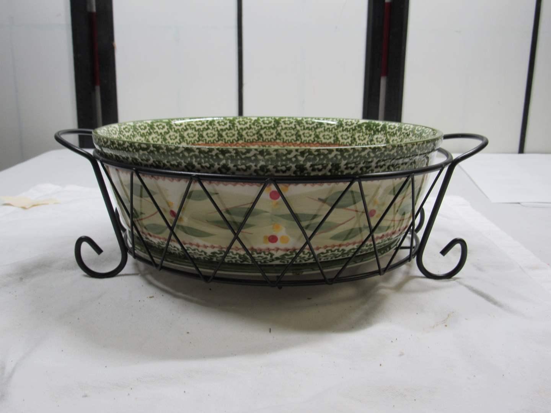 Lot # 87  Temp-Tations casserole w/wire holder (main image)