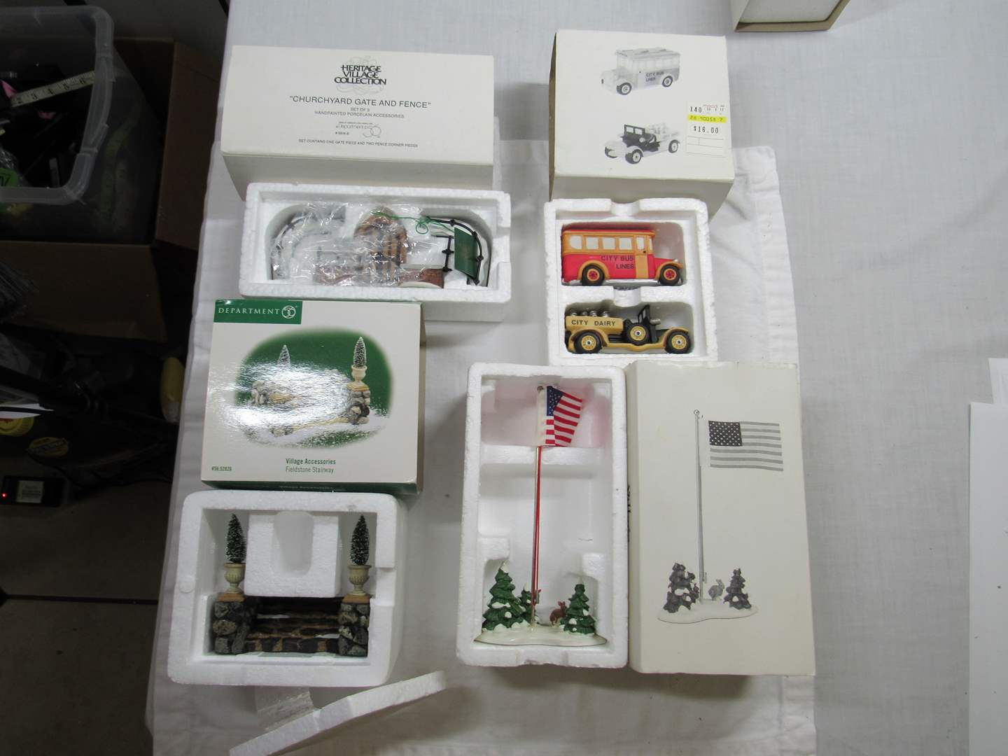 Lot # 288   Dept 56 Dickens Village Series Large lot of Accessories (main image)
