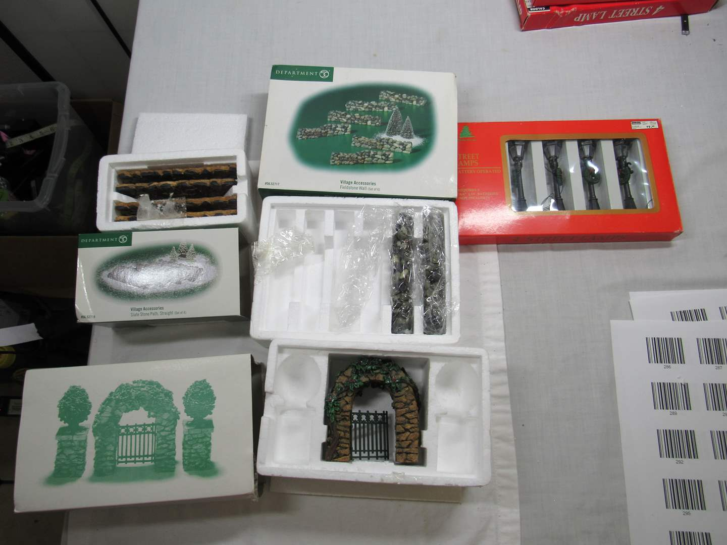 Lot # 293   Dept 56  Village Series Large lot of Accessories (main image)