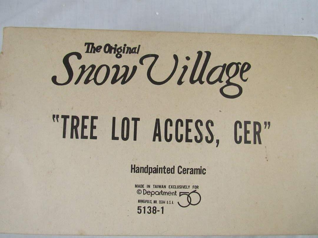 """Lot # 11  Dept 56 Snow Village  """"Tree Lot Access, Cer"""" Perfect condition (main image)"""