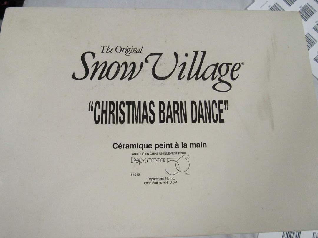 "Lot # 17  Dept 56 Snow Village  ""Christmas Dance Barn"" perfect but no light (main image)"