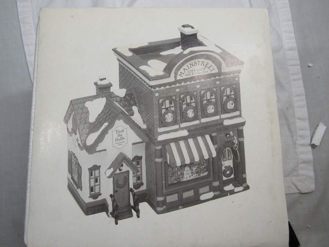 "Lot # 52  Dept 56 Snow Village ""Mainstreet Gift Shop"" no light (main image)"