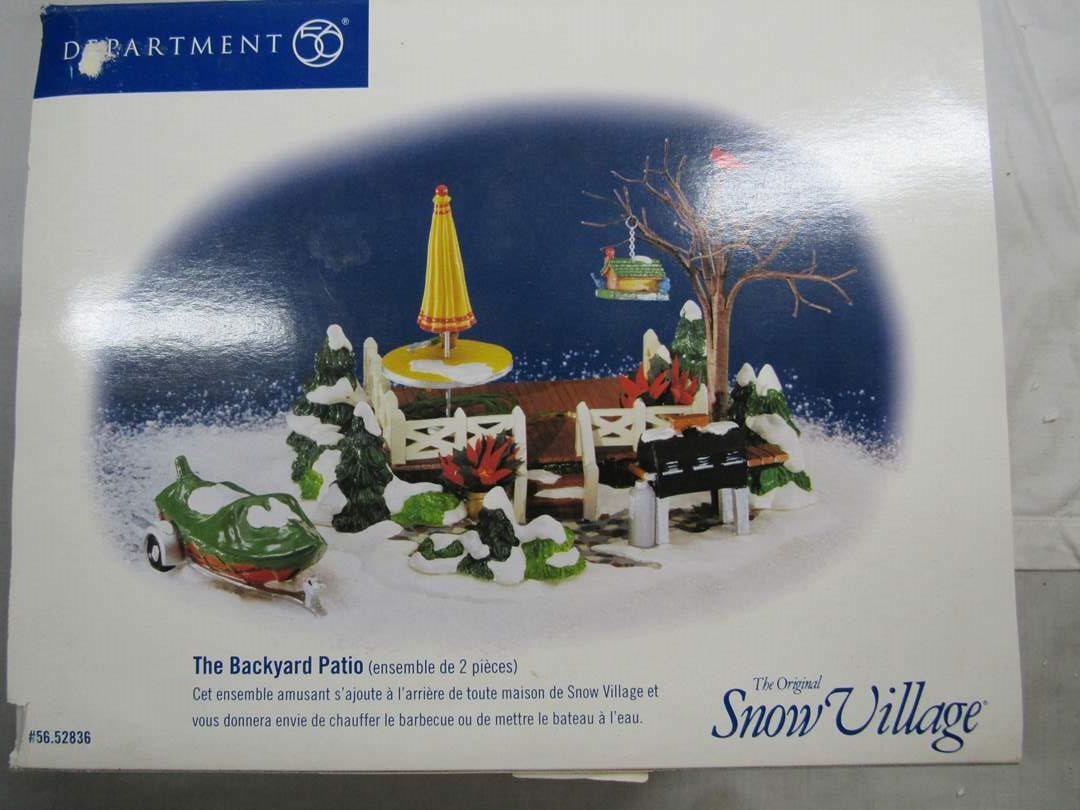"Lot # 62  Dept 56 Snow Village ""The Backyard Patio"" Complete (main image)"