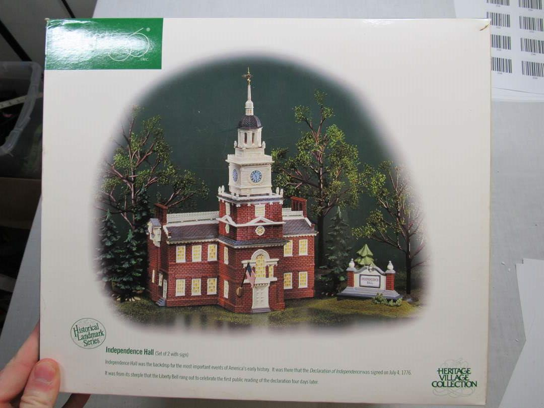 "Lot # 63  Dept 56 Snow Village ""Independence Hall"" complete (main image)"