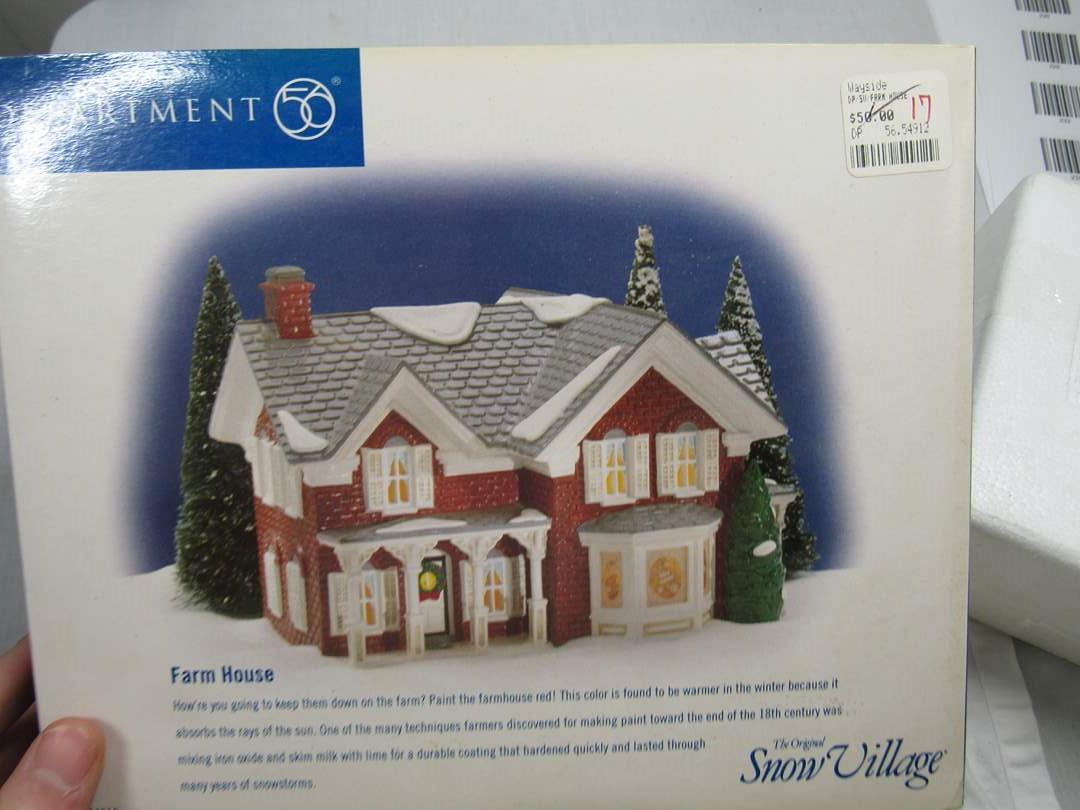 "Lot # 68  Dept 56 Snow Village ""Farm House"" no light (main image)"