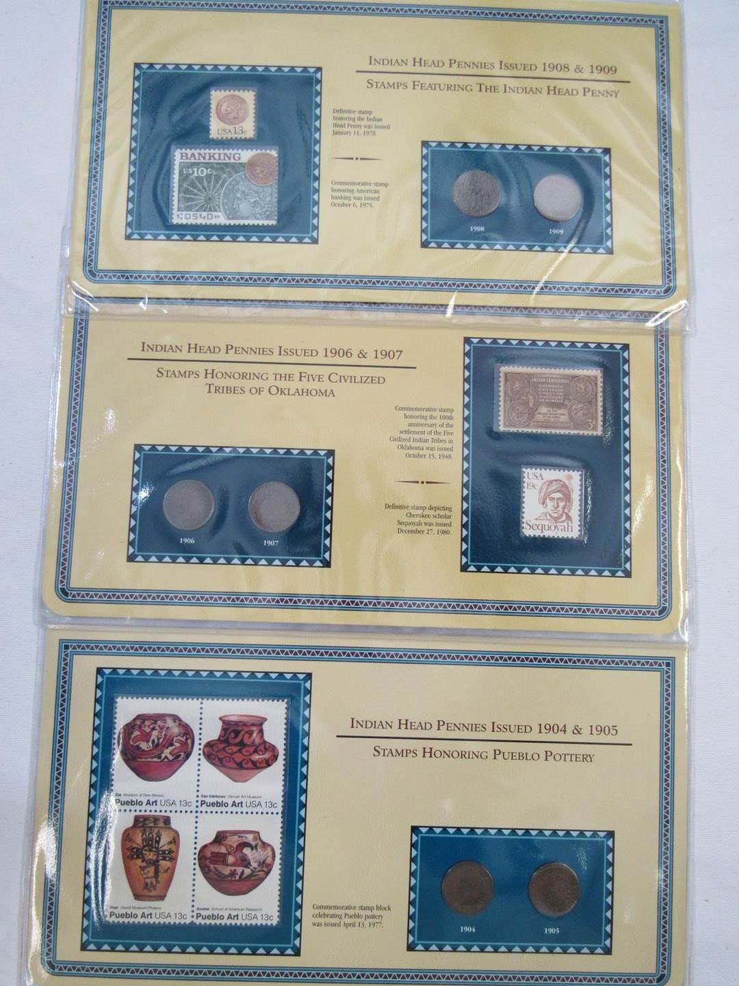 Lot # 147  Nice collection of Indian Head Pennies & Pottery Stamps  (main image)