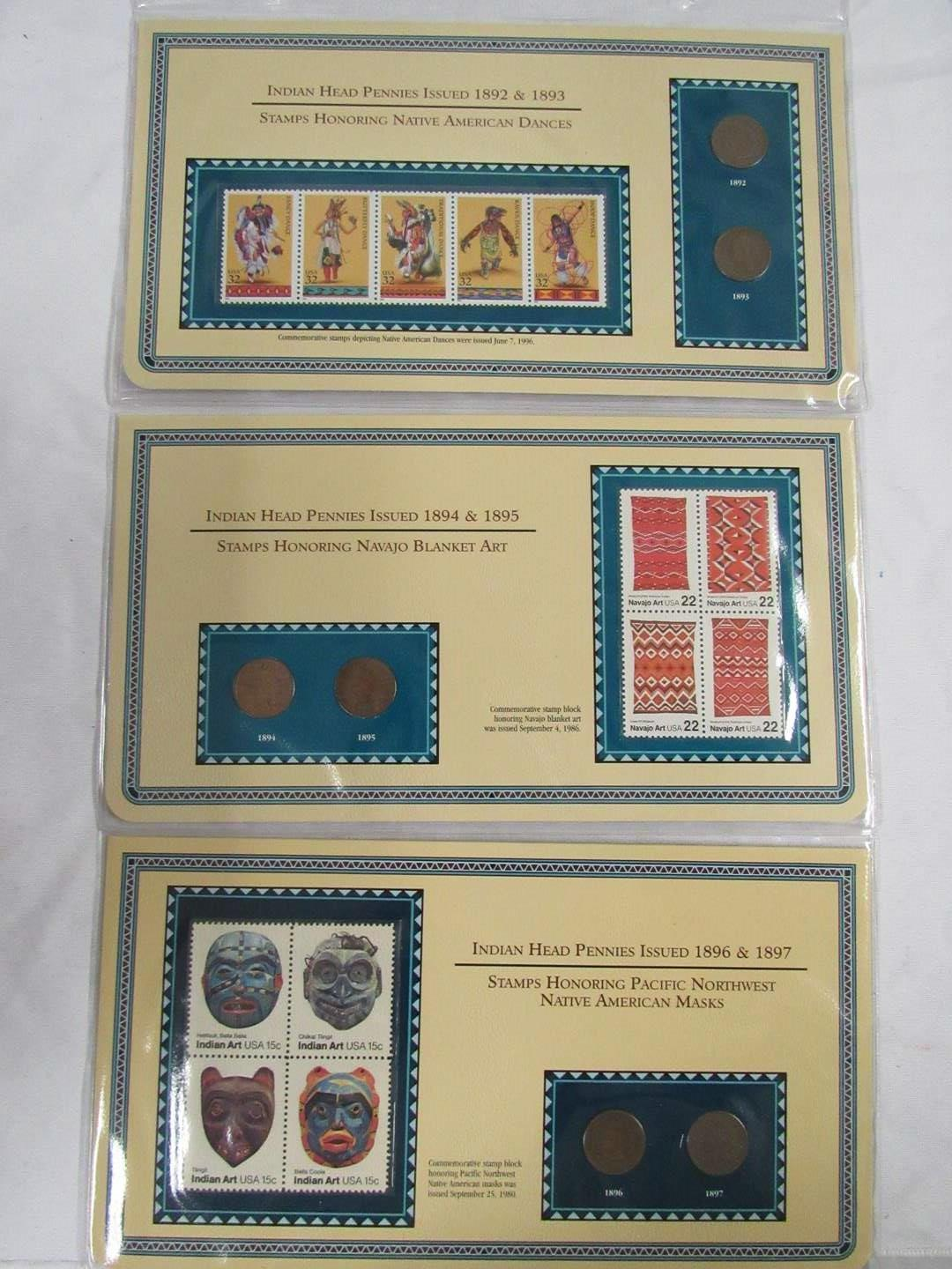 Lot # 149  Nice collection of Indian Head Pennies & Pottery Stamps  (main image)