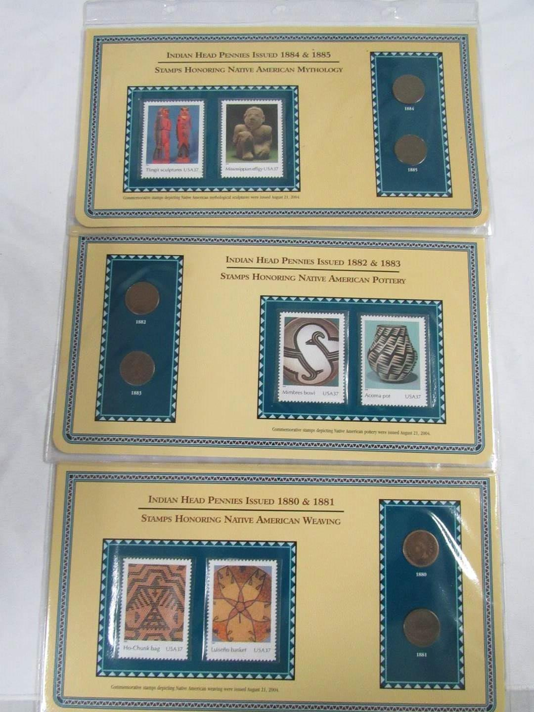Lot # 151  Nice collection of Indian Head Pennies & Pottery Stamps  (main image)