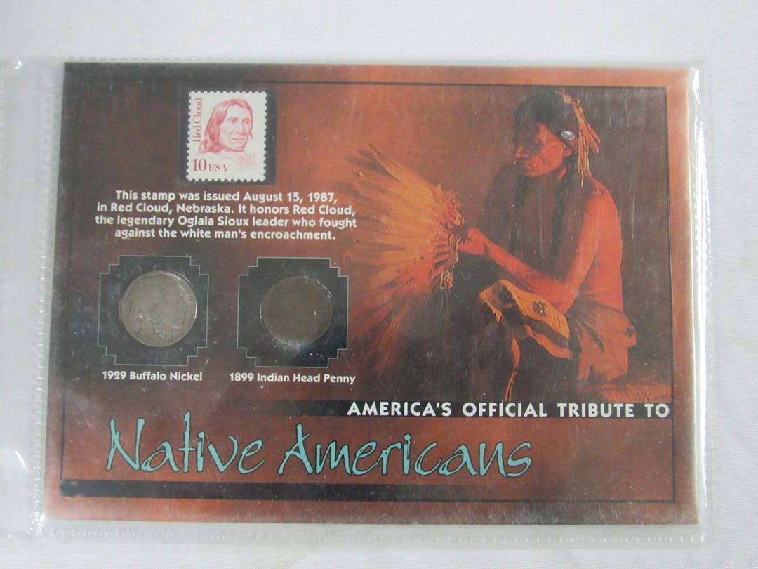 Lot # 153  Framed Buffalo Nickel & Indian Head Penny (main image)