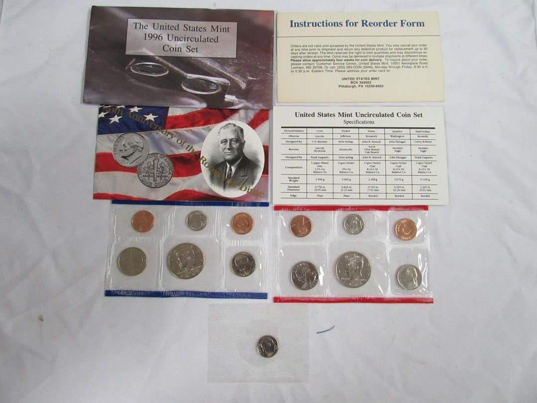 Lot # 158  1996 Uncirculated double Coin Set to include West Point dime (main image)
