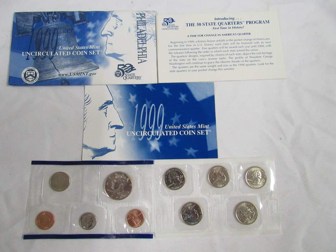Lot # 159  1999 Uncirculated Double Coin set to include state quarters (main image)