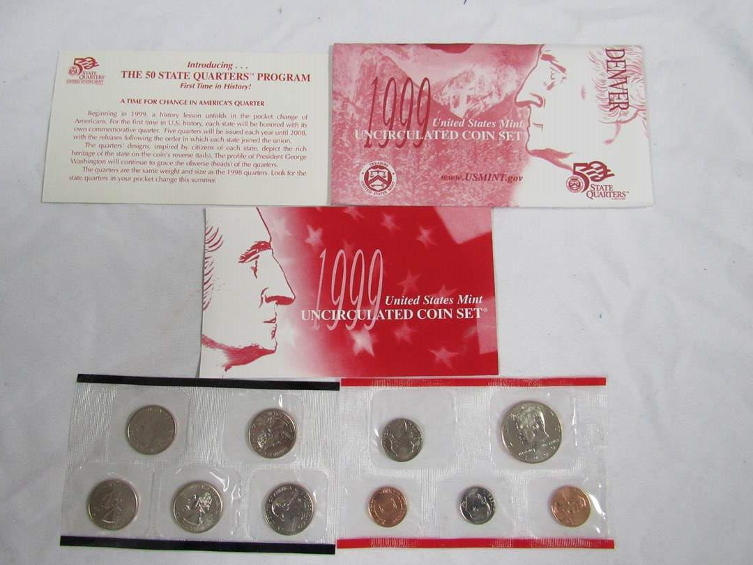 Lot # 160  1999 Uncirculated Double Coin set to include state quarters (main image)