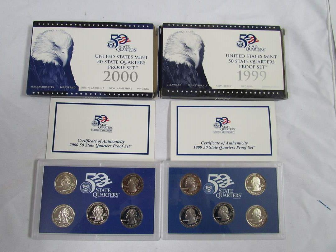Lot # 162  2 PROOF state quarter sets 1999 & 2000 (main image)