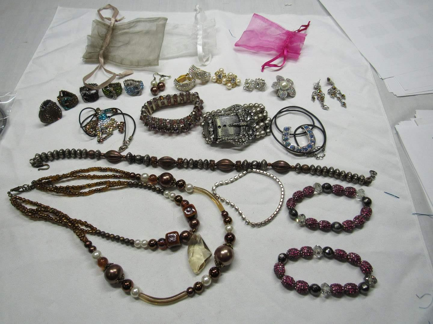 Lot # 166  Large collection of BLING costume jewelry (main image)