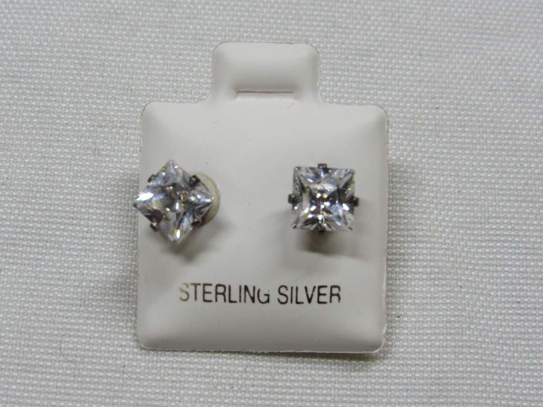 Lot # 187  Super nice BLING CZ & sterling silver earrings (main image)