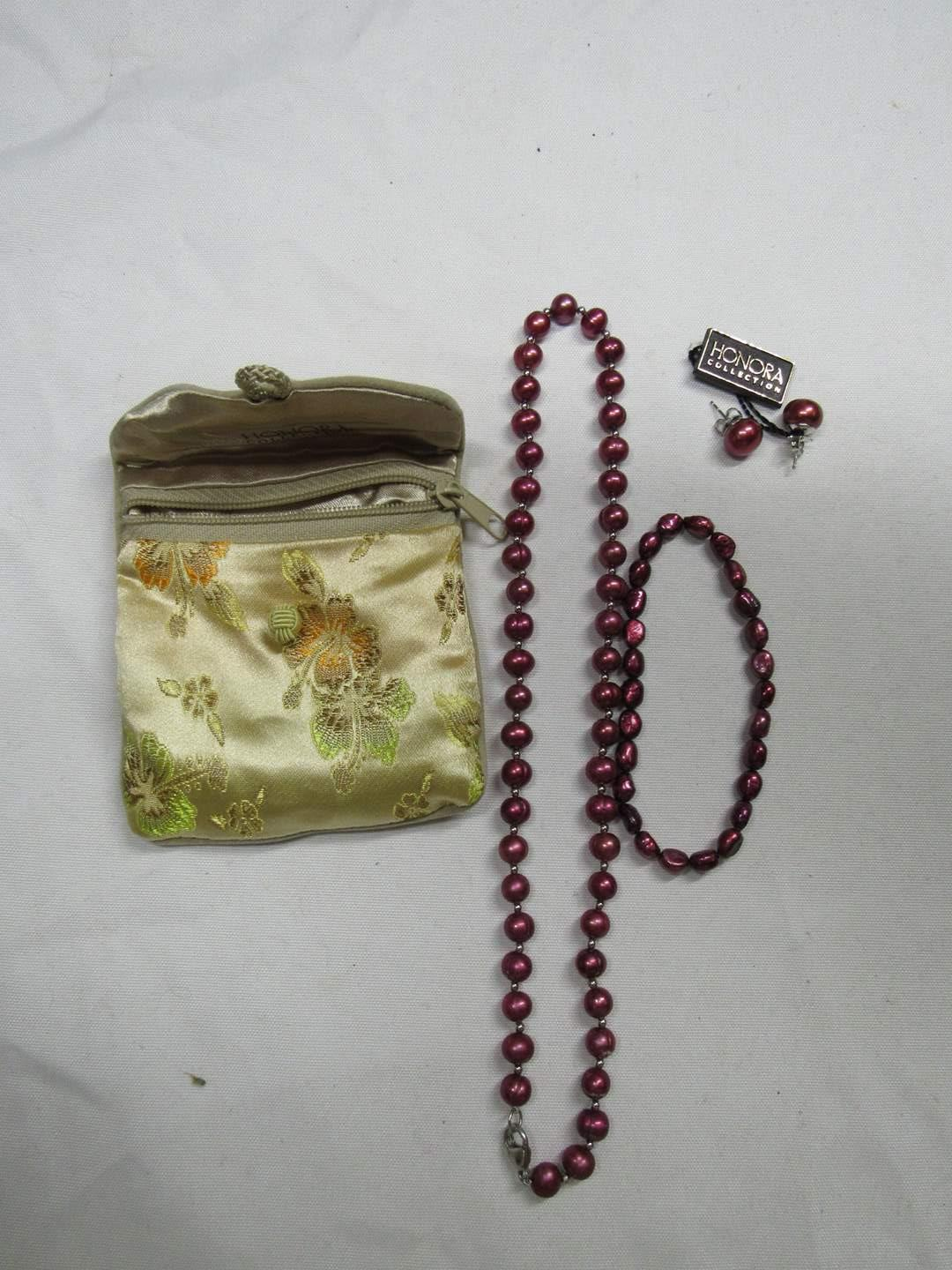 "Lot # 193  Great combination Honora 18"" necklace-bracelet & matching earrings (main image)"