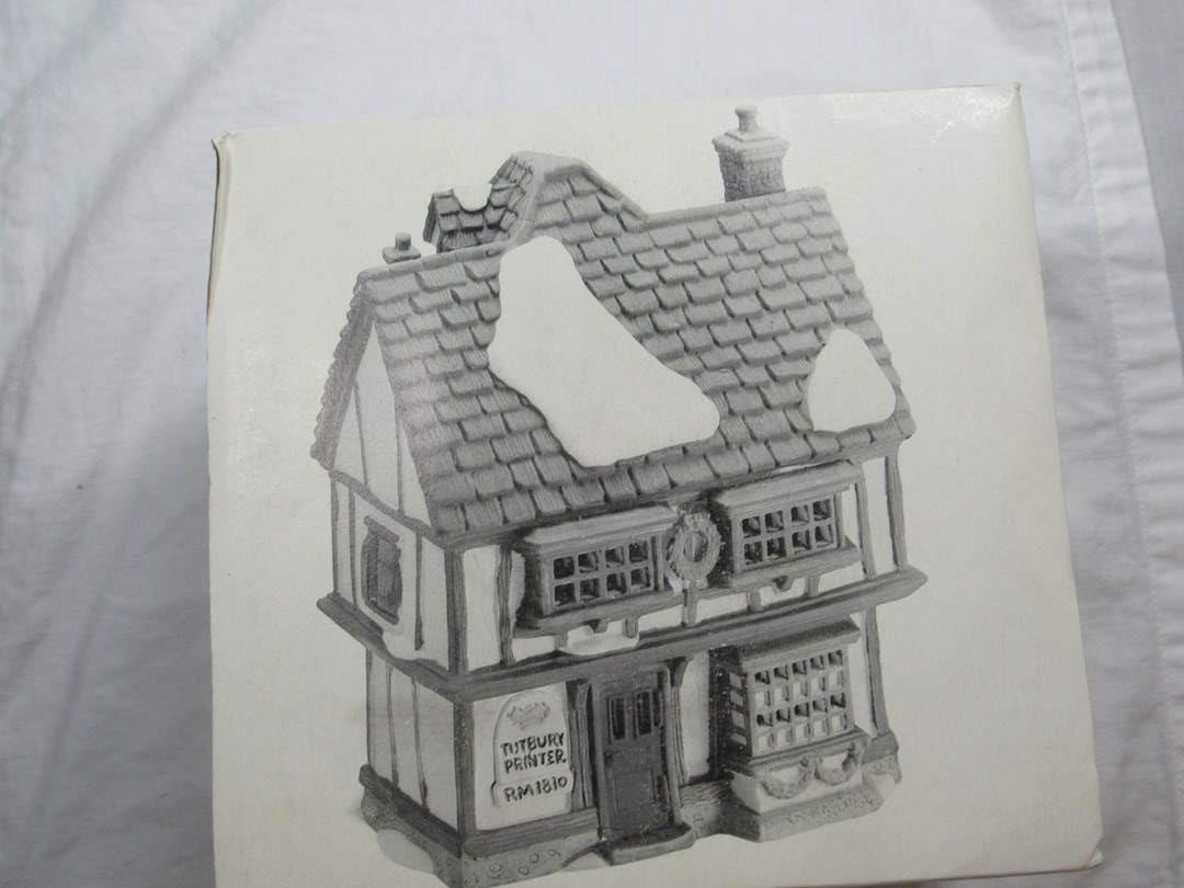 "Lot # 253  Dept 56 Dickens Village Series ""Tutbury Printer"" house w/light (main image)"