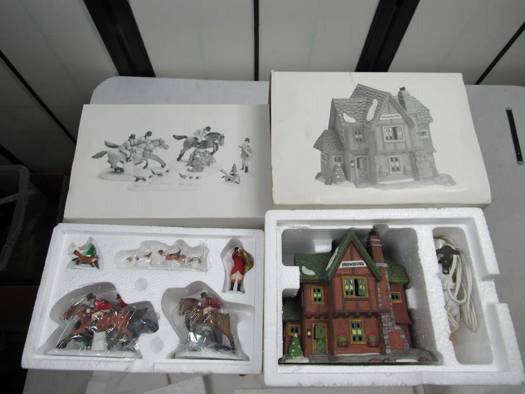 "Lot # 261 2  Dept 56 Dickens Village Series ""Tallo Ho & Browning Cottage"" (main image)"