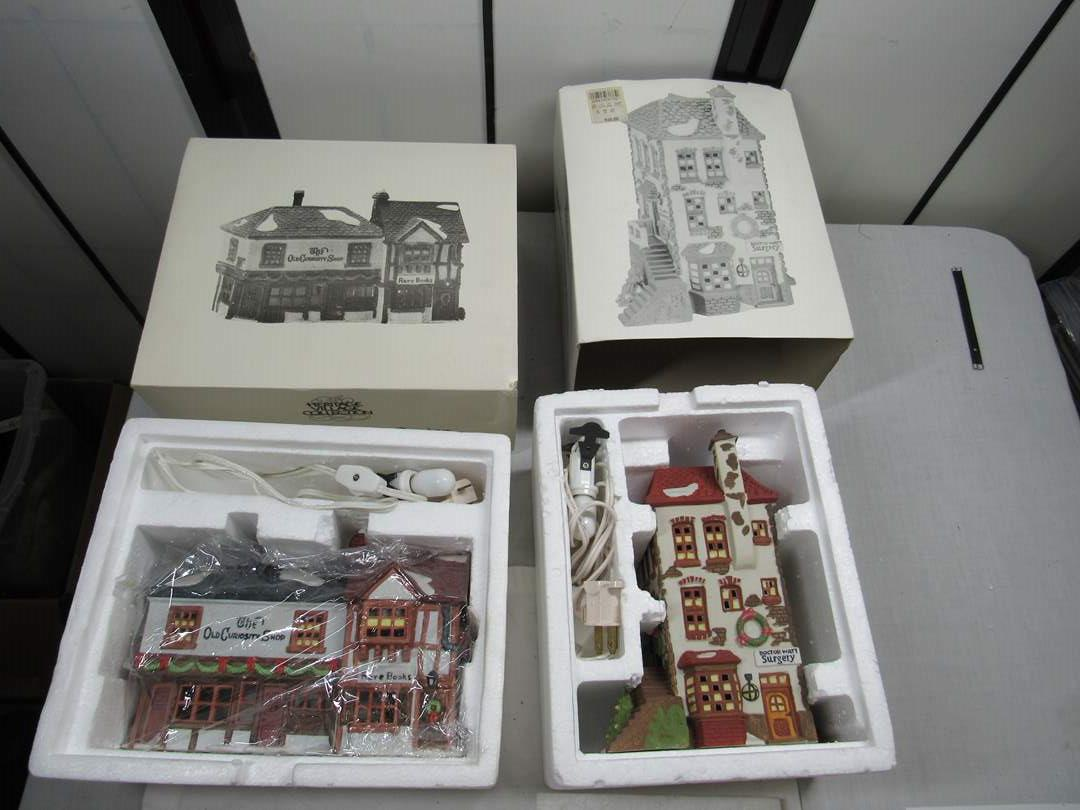 "Lot # 263   Dept 56 Dickens Village Series ""The Old Curiosity Shop & C.H. Watt Physician  (main image)"