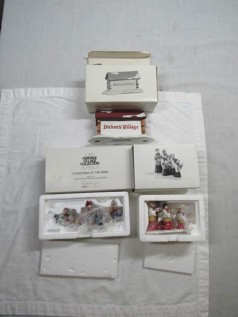 Lot # 277   Dept 56 Dickens Village Series Large lot of Accessories (main image)