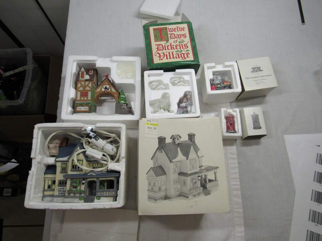 Lot # 283   Dept 56 Dickens Village Series Large lot of Accessories (main image)