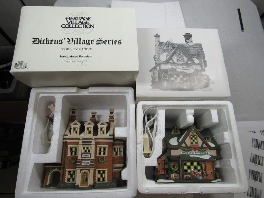 "Lot # 284  Dept 56 2 houses Dicken's Village ""Dursley Manor &  Quilly's Antiques"" (main image)"