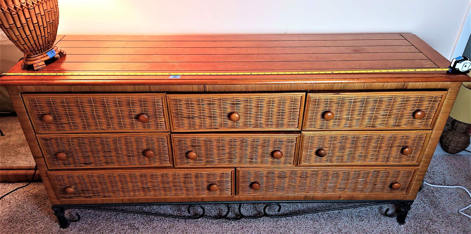 "Lot # 6 Wood, Wicker and Metal Legs & Trim 8 Drawer Dresser.  68""x18""x32"" high"