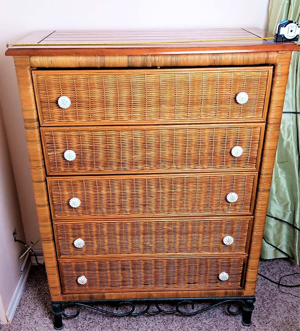 """Lot # 8 Wood, Wicker and Metal Legs and Trim 5 Drawer Tall Dresser. 35""""x18""""x46 1/2"""" Tall."""