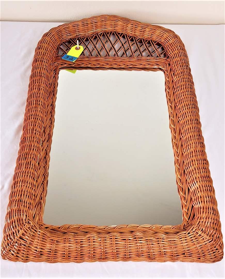 "Lot # 32 Decorative Wicker and Wood Hall Mirror. 16"" x 28"""