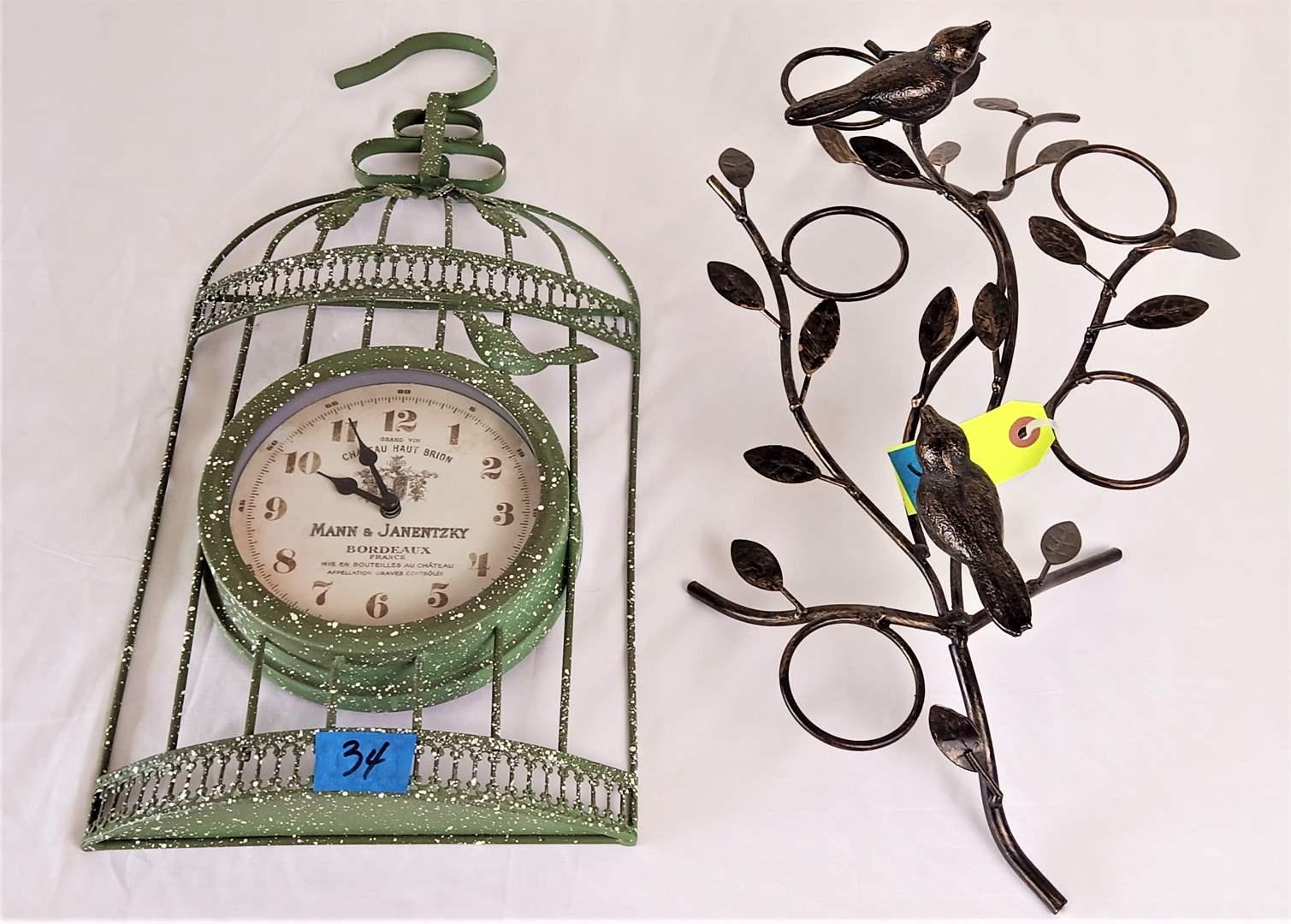Lot # 34 Decorative Bird Cage Wall Clock & Metal Bird Decor Candle Holder